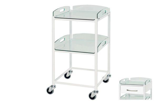Dressing Trolley - 46cm - 2 Glass Effect Safety Trays