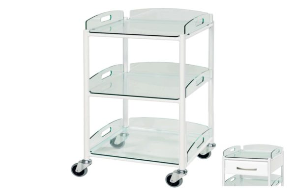 Dressing Trolley - 46cm - 3 Glass Effect Safety Trays