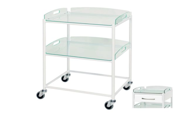 Dressing Trolley - 66cm - 2 Glass Effect Safety Trays