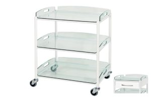Dressing Trolley - 66cm - 3 Glass Effect Safety Trays