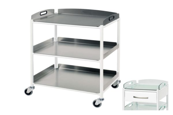 Dressing Trolley - 66cm - 3 Stainless Steel Trays