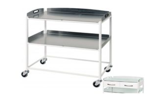 Dressing Trolley - 86cm - 2 Stainless Steel Trays