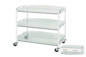 Dressing Trolley - 86cm - 3 Glass Effect Safety Trays