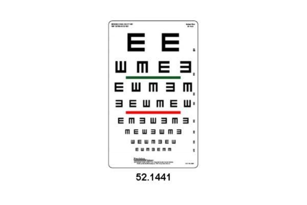 Eye Charts - Tumbling 'E' Colour Vision Chart Visual Acuity Screen