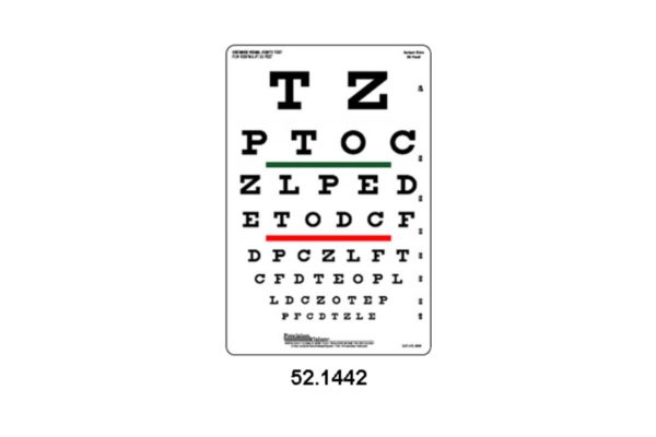 Eye Charts - Snellen Eye Chart For Visual Acuity and Colour Vision Test